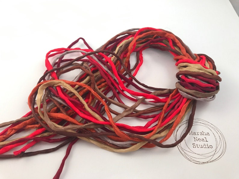 Hand Painted Silk Cord  Hand Dyed Silk  Silk Ribbon Jewelry image 1