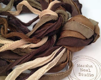 Silk Ribbon - Hand Painted Silk - Silky Ribbon - Fairy Ribbon - Jewelry Supplies - Wrap Bracelet - Craft Supplies - Brown Tan Earth Colors