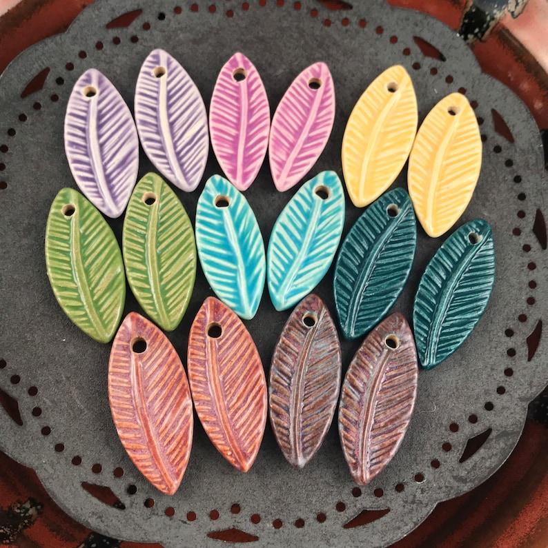 Handmade Ceramic Beads  Feather Beads  Leaf  Chocolate image 0