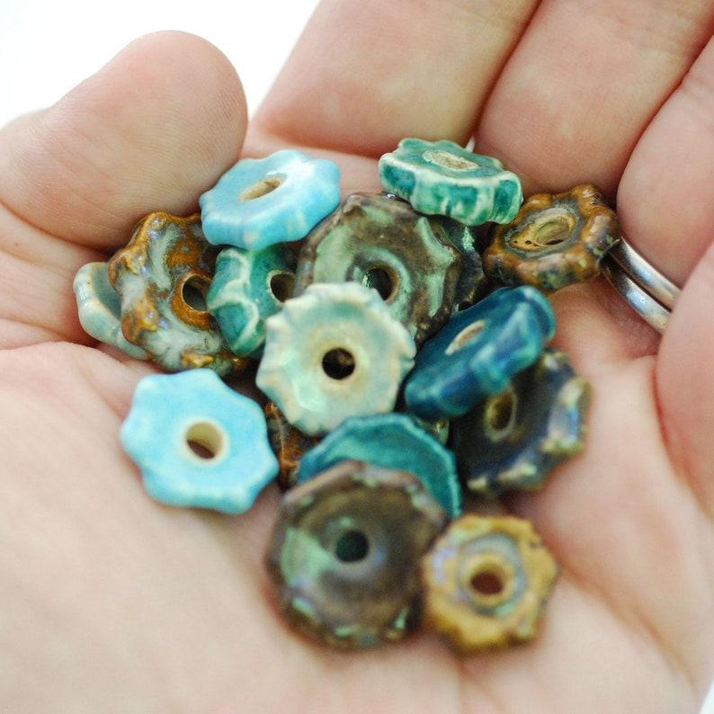 Craft Supplies  Coin Beads  Handmade Ceramic Disc Beads  image 0