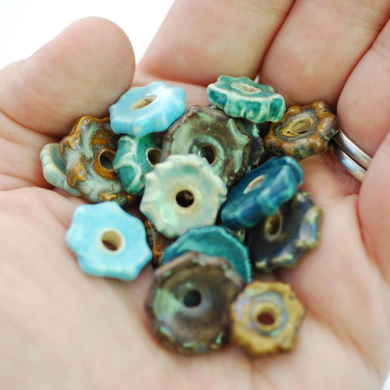 Craft supplies coin beads handmade ceramic disc
