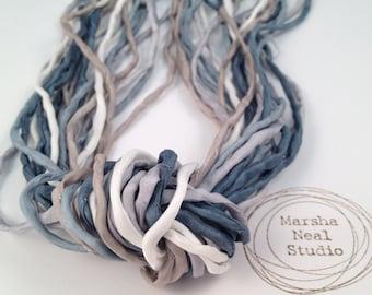 Hand Dyed Silk Ribbon - Silk Cord - DIY Crafts - Jewelry Supplies - Wrap Bracelet - Craft Supplies - 2mm Silk Cord Strands Winter Wonderland