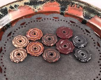 Rustic Beads - Ceramic Beads - One Pair - Spiral Design - Earring Sized Pairs - Marsha Neal Studio - Handmade Beads 6F