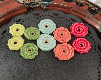Ceramic Beads - One Pair - Earring Sized Pairs - Marsha Neal Studio - Handmade Beads - Interesting Focal Beads 12A