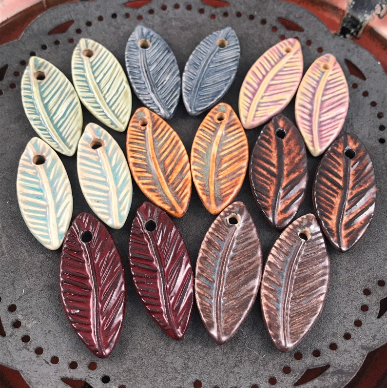 Handmade Ceramic Beads  Feather Beads  Leaf  Chocolate image 1