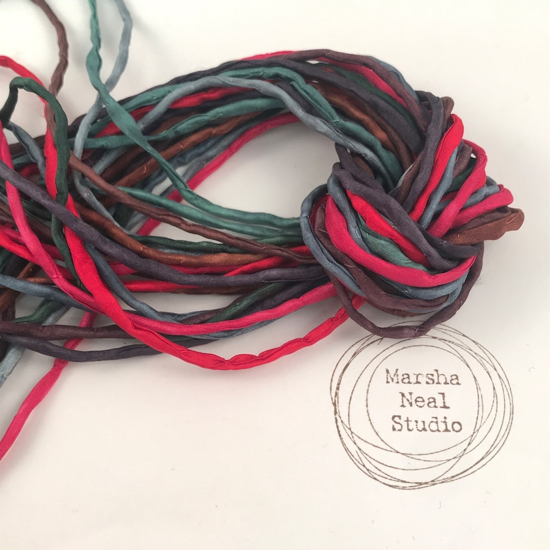 Hand Painted Silk Cord  Hand Dyed Silk  Silk Ribbon  image 0