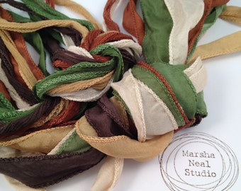 Silk Ribbon - Hand Painted Silk - Silky Ribbon - Fairy Ribbon - Jewelry Supplies - Wrap Bracelet - Craft Supplies - Woodland Realm Color
