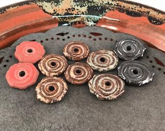 Ceramic Beads - One Pair - Earring Sized Pairs - Marsha Neal Studio - Handmade Beads - Interesting Focal Beads 15F
