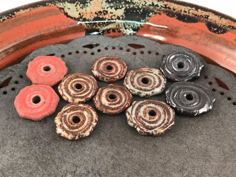 Handmade Beads Earring Sized Pairs Interesting Focal Beads 15F One Pair Ceramic Beads Marsha Neal Studio
