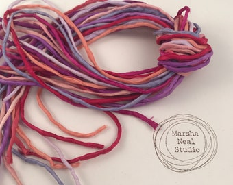 Hand Painted Silk Cord - Hand Dyed Silk - Silk Ribbon - Jewelry Supplies - Craft Supplies - 10 Silks - 2mm Silk Cord Item No.549