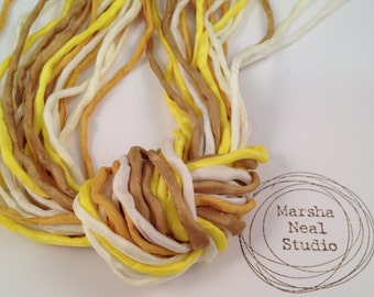 Hand Dyed Silk Cord - Silk Ribbon - DIY - Jewelry Supplies - Wrap Bracelet - Craft Supplies - 2mm Silk Cord Strands Yellow Gold Colors