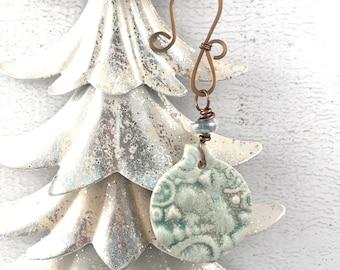 SALE Handmade Christmas Ornament - Beach Themed Ornament - Ocean Ornament - Ceramic Ornament - Unique Ornament - Holiday Gift Idea
