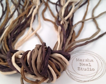 Hand Dyed Silk Ribbon - Silk Cord - DIY - Jewelry Supplies - Wrap Bracelet - Craft Supplies - 2mm Silk Cord Strands Brown Tan Earth Colors