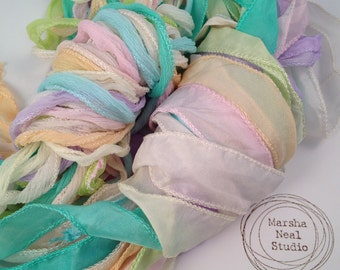 Silk Ribbon - Hand Painted Silk - Silky Ribbon - Fairy Ribbon - Jewelry Supplies - Wrap Bracelet - Craft Supplies - Pastels Color Palette
