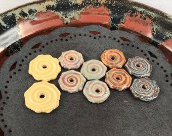 Ceramic Beads - One Pair - Earring Sized Pairs - Marsha Neal Studio - Handmade Beads - Interesting Focal Beads 13A