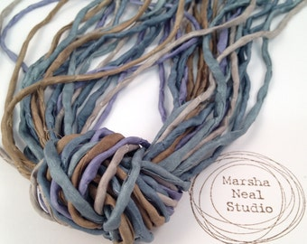 Hand Dyed Silk Ribbon - Silk Cord - DIY - Jewelry Supplies - Wrap Bracelet - Craft Supplies - 2mm Silk Cord Strands Sea Shore Color Palette