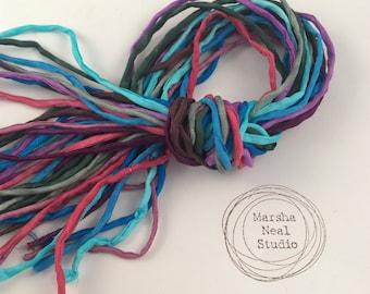 Hand Painted Silk Cord - Hand Dyed Silk - Silk Ribbon - Jewelry Supplies - Craft Supplies - 10 Silks - 2mm Silk Cord Item No.553