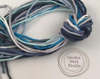 Hand Painted Silk Cord - Hand Dyed Silk - Silk Ribbon - Jewelry Supplies - Craft Supplies - 10 Silks - 2mm Silk Cord Item No.547