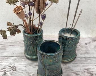 Handmade Ceramic Bud Vase - Ceramic Needle Holder - Blue Green Tidal Pool Glaze - Nature Inspired - Crafty Gift Idea