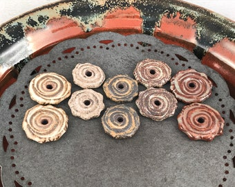 Ceramic Beads - One Pair - Spiral Design - Earring Sized Pairs - Ready to Ship - Marsha Neal Studio - Handmade Beads 3F