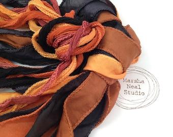 Hand Dyed Silk Ribbon - Silky Ribbon - Fairy Ribbon - Jewelry Supplies - Wrap Bracelet - Craft Supplies - Halloween Orange Black Palette
