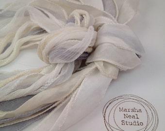 Hand Dyed Silk Ribbon - Silky Ribbon - Fairy Ribbon - Jewelry Supplies - Wrap Bracelet - Craft Supplies - Wedding White Ivory Gray Palette
