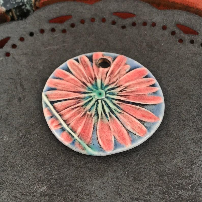 Ceramic Beads  Pressed Flower  Necklace Focal Pendant  image 0