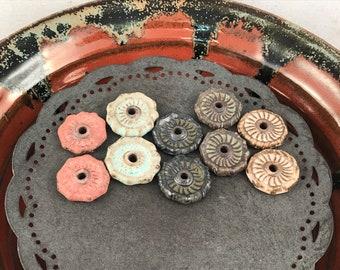 Ceramic Beads - One Pair - Earring Sized Pairs - Ready to Ship - Marsha Neal Studio - Handmade Beads 5F
