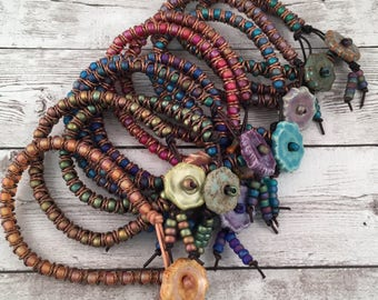 DIY Bracelet Kit - Crafts for Adults - Leather Beaded Friendship Bracelet - Birthday Gift - Retreat Craft Kit - Craft Night