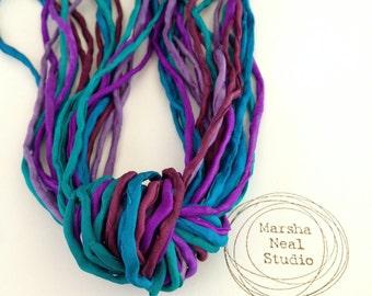Hand Dyed Silk Ribbon - Silk Cord - DIY Craft - Jewelry Supplies - Wrap Bracelet - Craft Supplies - 2mm Silk Cord Strands Royal Monet Colors