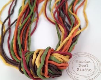 Hand Dyed Silk Ribbon - Silk Cord - DIY - Jewelry Supplies - Wrap Bracelet - Craft Supplies - 2mm Silk Cord Strands Autumn Fall Foliage
