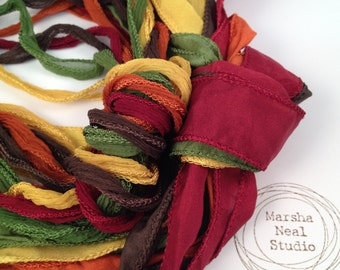 Hand Dyed Silk Ribbon - Silky Ribbon - Fairy Ribbon - Jewelry Supplies - Wrap Bracelet - Craft Supplies - Autumn Fall Foliage Color Palette