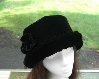 6565f444a7a14 Rich Black VELVET Hat with velvet rose
