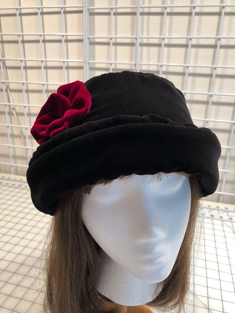 2949eca13a3 Rich Black VELVET Hat with burgundy velvet rose Women s