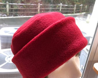 Adult Fleece PILLBOX Hat, Red fleece hat, Women's Fleece Hat, Women's Red Winter Hat, Men's Winter Hat