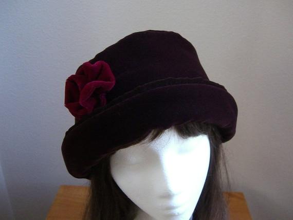20feb6a549b Dark Chocolate VELVET Hat with burgundy velvet rose
