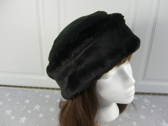 Rich Black Beaver FAUX FUR HAT Pillbox Style Hat Women s  676c5b45d93