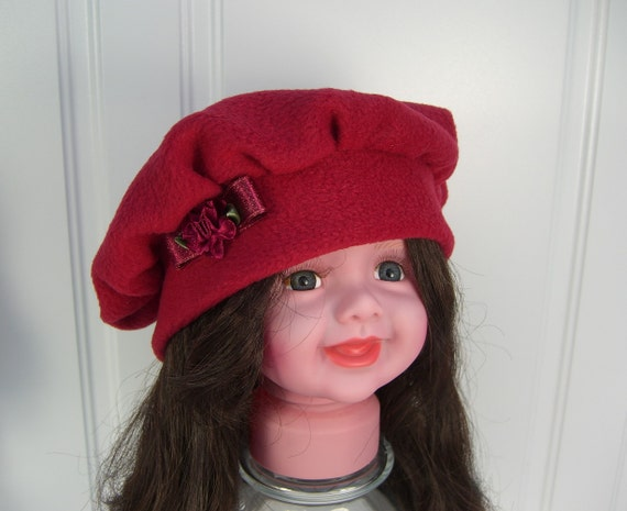 Baby BERET with ribbon flowers Baby Girl Fleece Hat  6112e8b49f7
