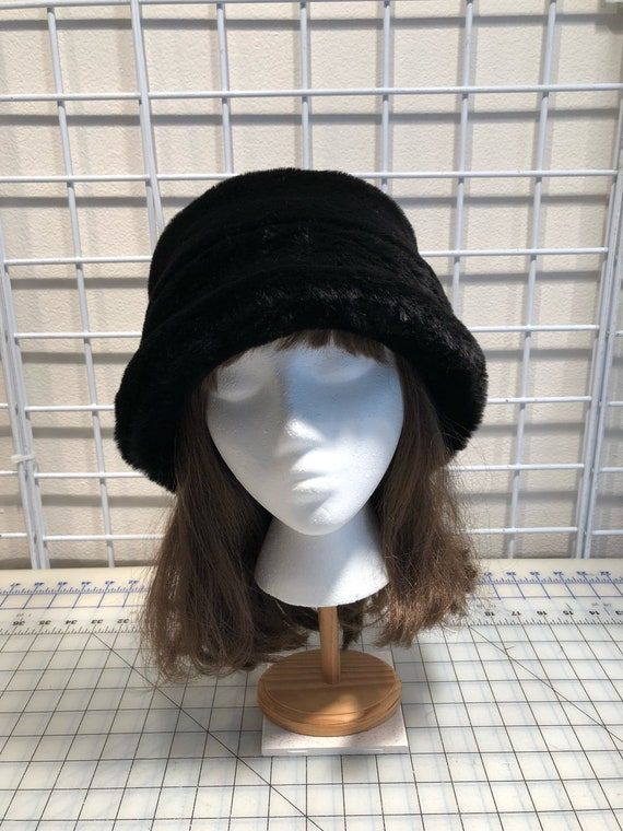 0f51ad69477 Black Beaver Faux Fur Bucket Hat Women s Fur Hat Black