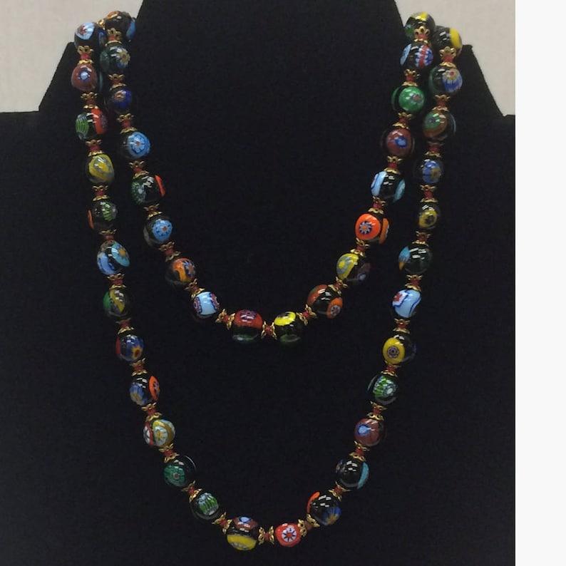 a6aaabfdd55 Murano Venetian Mille Fiori Glass Bead Necklace Vintage 1960s Barrel Clasp  Long Black Multi Color