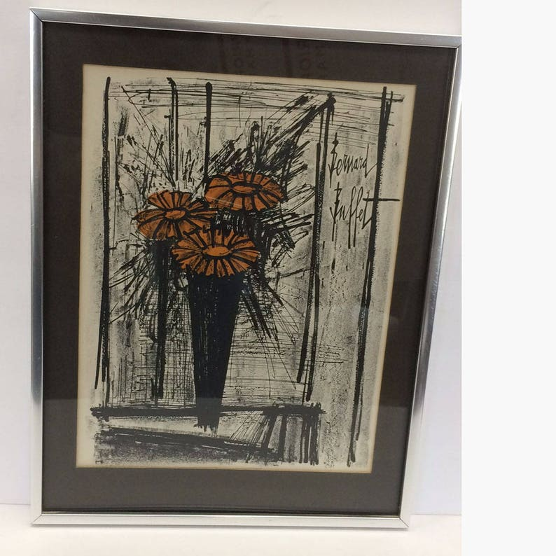 Fine Flowers Bernard Buffet Lithograph Collectors Guild Framed Print Vintage Fine Art Print Interior Design Ideas Helimdqseriescom