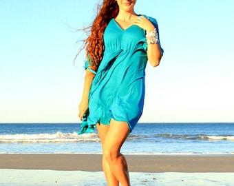 Kaftan Mini Dress - Women's Beach Caftan Dress in Teal Jersey Knit - Lots of Colors