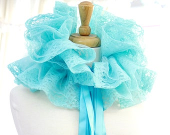 Mint Lace Collar with Tulle - Burlesque Costume - Elizabethan Fashion Ruff - Lots of Colors