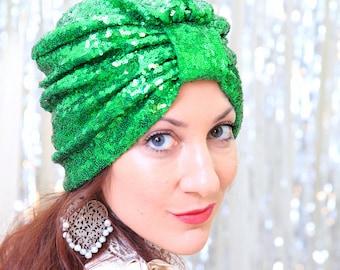 Green Sequin Turban - St. Patrick's Day Stye - Women's Hair Turbans with Sequins - Kelly Green Turban Headwrap