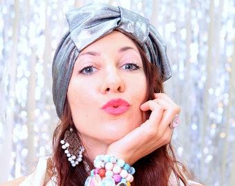 Turban Headwrap in Silver and Black Metallic - Women's Hair Turban - Turban Headbands - Bow Turban