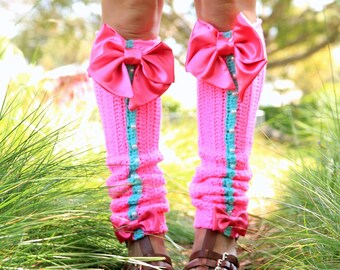 Hot Pink Leg Warmers with Bows - Kawaii Fashion Leggings - Knee High Lolita Style Leg Warmers - Custom Colors Available