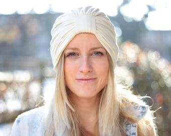Women's Turban in Ivory Jersey Knit - Fashion Turbans - Full Hair Turbans - Turban Hats for Women - Lots of Colors