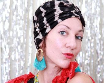 Animal Print Turban - Women's Leopard Print Turban Headwrap - Rayon Jersey Knit Hair Turbans - Turban Hat - Black and Natural Print