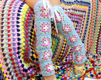 Pastel Granny Square Leg Warmers - Colorful Patchwork Leggings - Bohemian Over the Knee Leg Warmers by Mademoiselle Mermaid