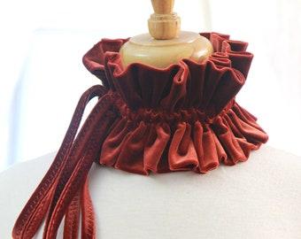 Rust Velvet Collar - Women's Neck Ruff - Victorian Style Fashion Collars - Ruffle Neck Piece - Velvet Chokers - Lots of Colors